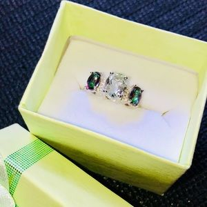 Green Amethyst, Topaz & Diamond Silver Ring
